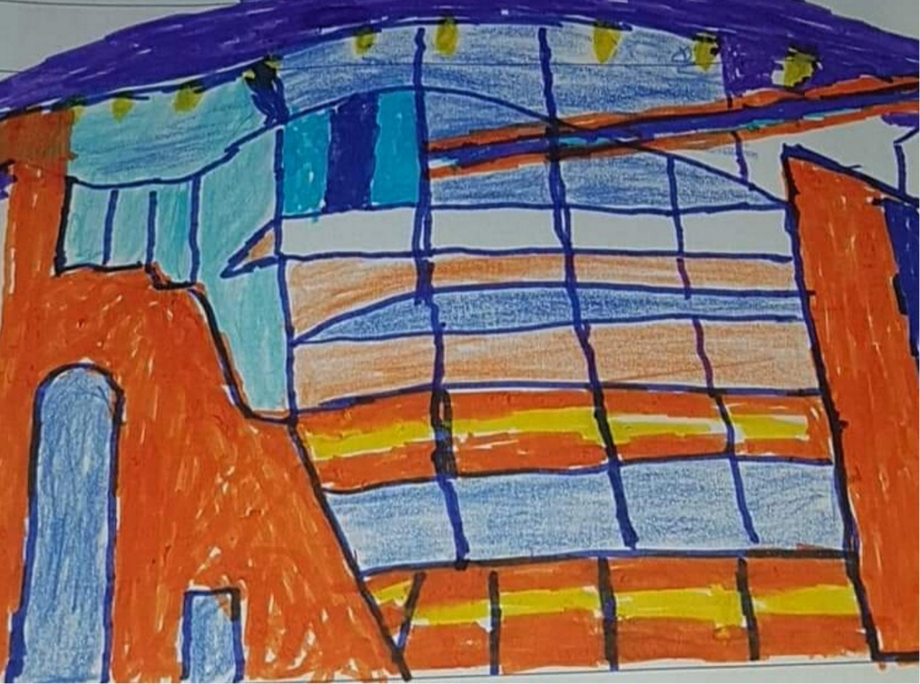 Illustration of ARC's curved glass frontage in bright colours