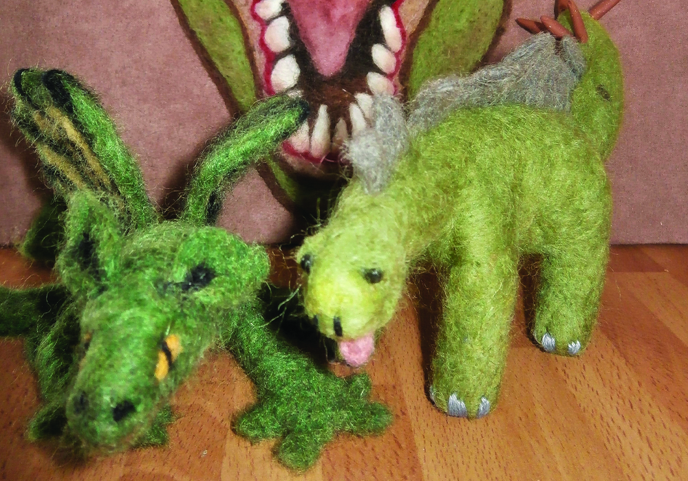 Two felted dragons