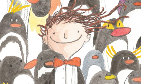 colourful pencil sketch of a man amongst many penguins