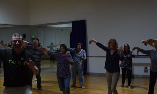 A group of people doing a tai chi pose.