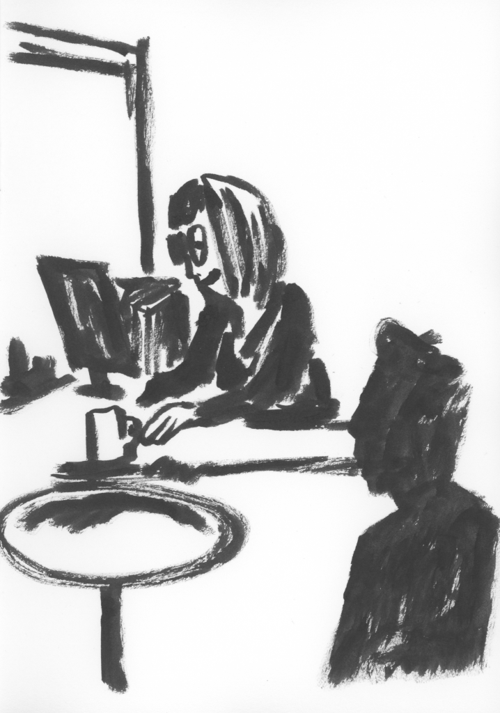 black and white line sketch of two people in a meeting, one is at a computer