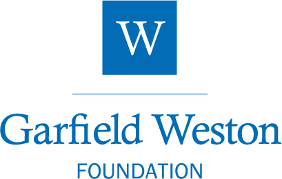 Logo. White W on blue background, with text Garfield Weston FOUNDATION underneath