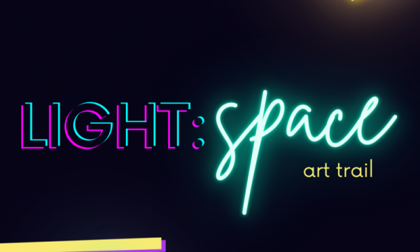 Text reading LIGHT: Space art trail, stylised as neon lighting
