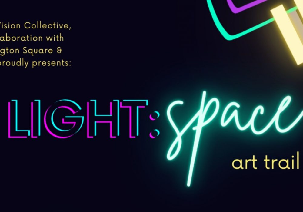 A black background with neon shapes, and neon text reading LIGHT:space Art Trail.