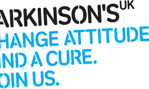 Parkinson's UK logo. Text reads: Parkinson's UK. Change Attitudes. Find A Cure. Join Us.