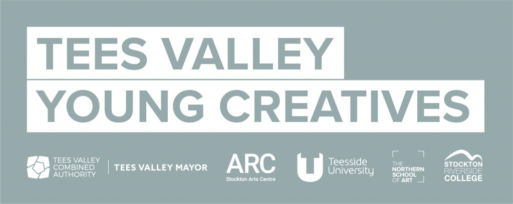 Tees Valley Young Creatives Logo. Includes logos of partner organisations: Tees Valley Combined Authority, Tees Valley Mayor, ARC, Teesside University, The Northern School of Art, and Stockton Riverside College