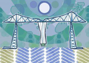 Lizzie Lovejoy's illustration of Middlesbrough's Transporter Bridge