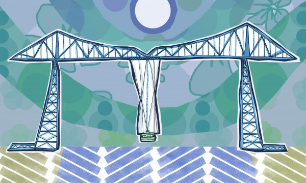 Lizzie Lovejoy's illustration of Middlesbrough's Transporter Bridge