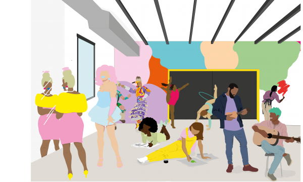Cartoon style illustration of black artists performing a range of creative activities including dance, guitar playing, drawing, writing, and painting.