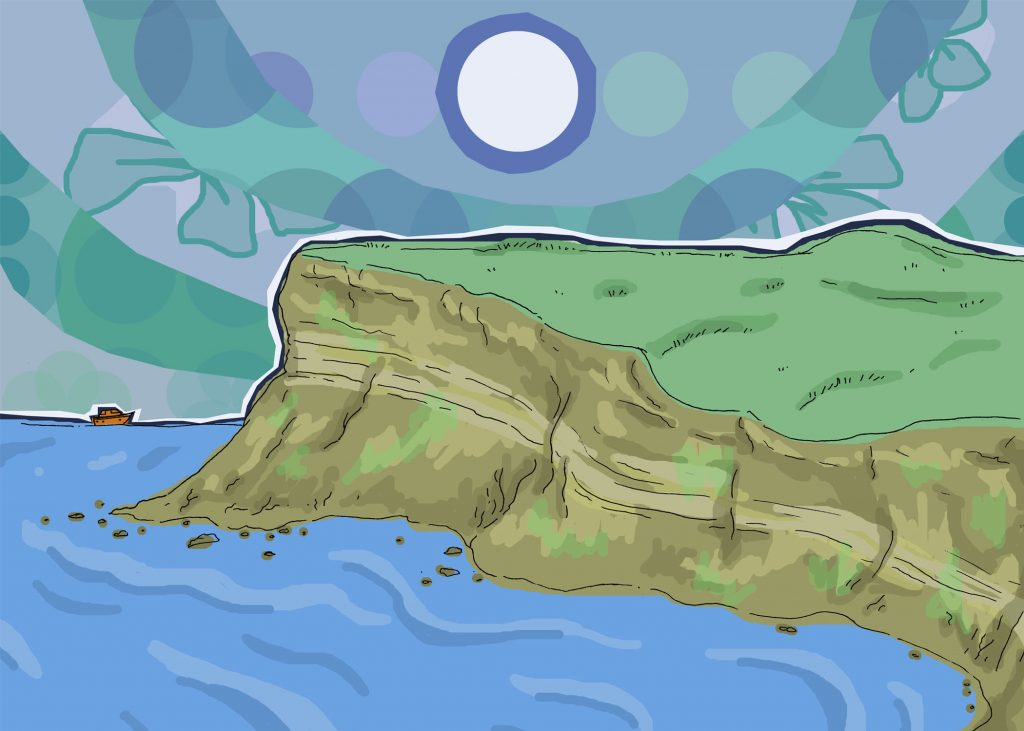 Illustration of Huntcliff in Saltburn by the Sea, North Yorkshire
