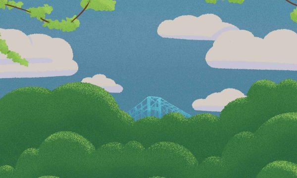 Illustration of Middlesbrough's Transporter Bridge behind trees