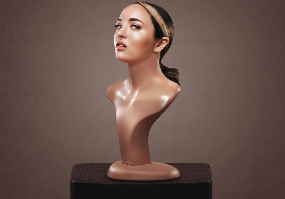 Fern Brady's head on a traditional bust sculpture