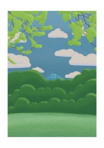 Illustration of Middlesbroughs Transporter Bridge seen through some trees