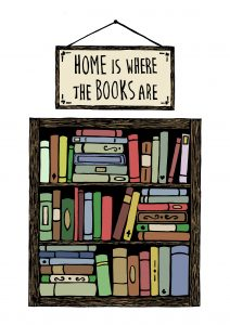 Illustration of a bookshelf with books. A sign above reads 'Home is Where the books are'