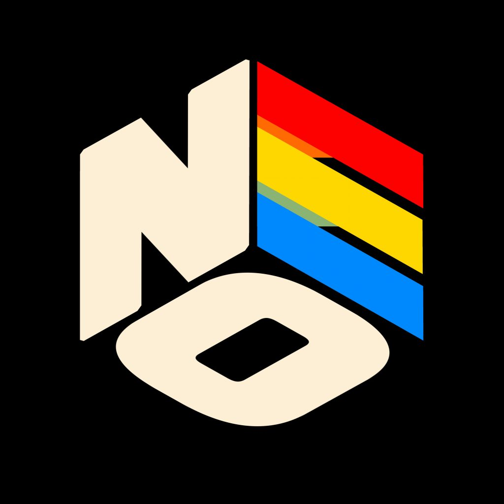Logo made up of letters NEO on a black background