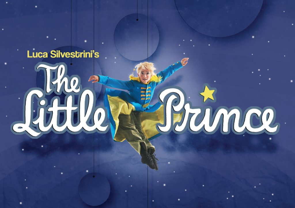 """An image of The Little Prince dancing, with text reading """"Luca Silvestrini's The Little Prince""""."""