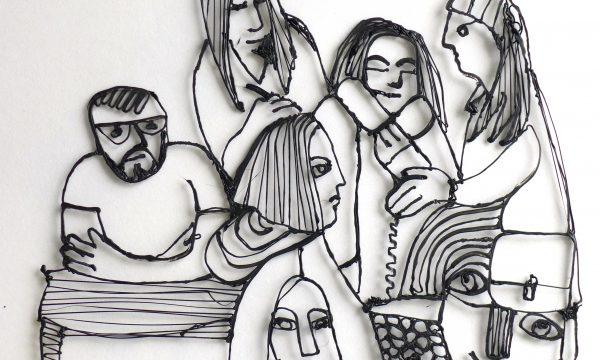 3D black lined illustration of seven people grouped together