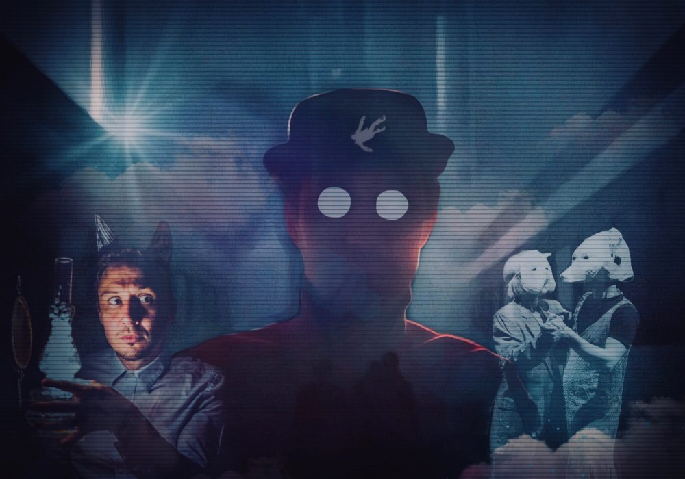 A shadowy figure of a man looms large against a dark, cloudy background. An illustration of a falling man appears on the man's hat. A photo of Scott Turnbull holding a lamp appears in the bottom left, and a photo of two people (wearing dog masks) dancing together, appears in the bottom right.