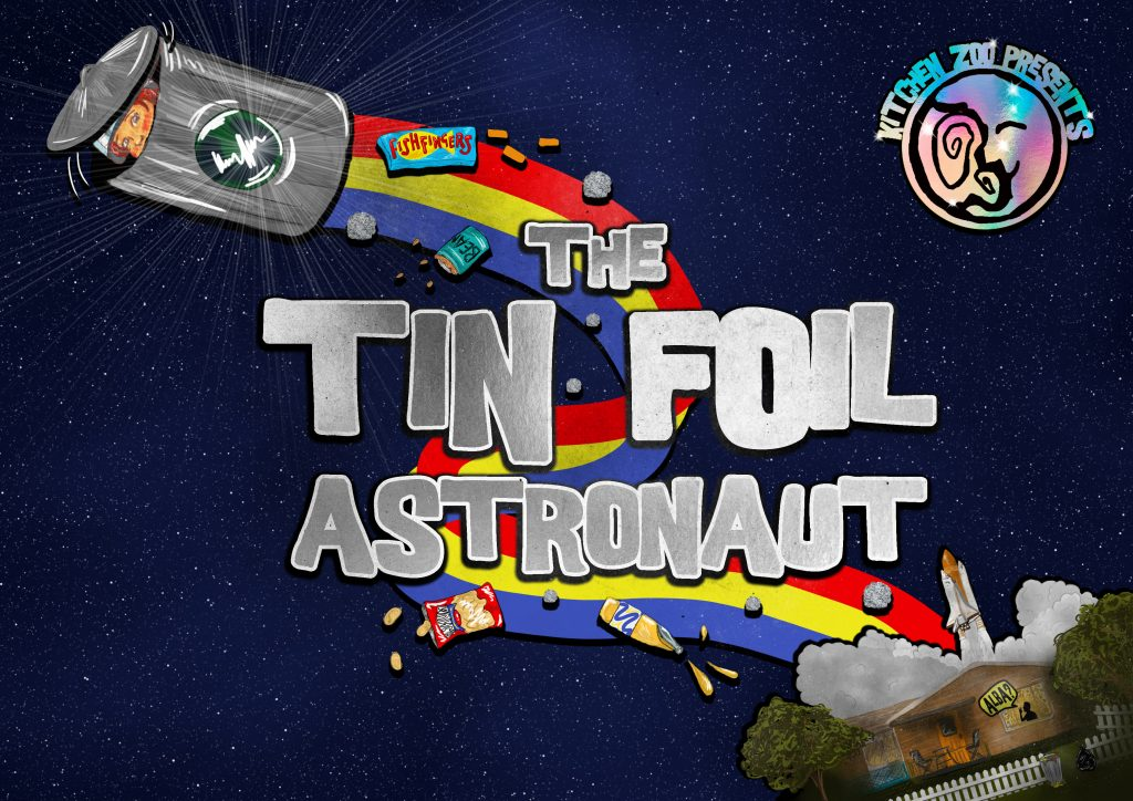"""Cartoon style image of a girl in a rocket-ship bin flying through Space. Text (in shiny silver lettering) reads """"THE TIN FOIL ASTRONAUT"""""""