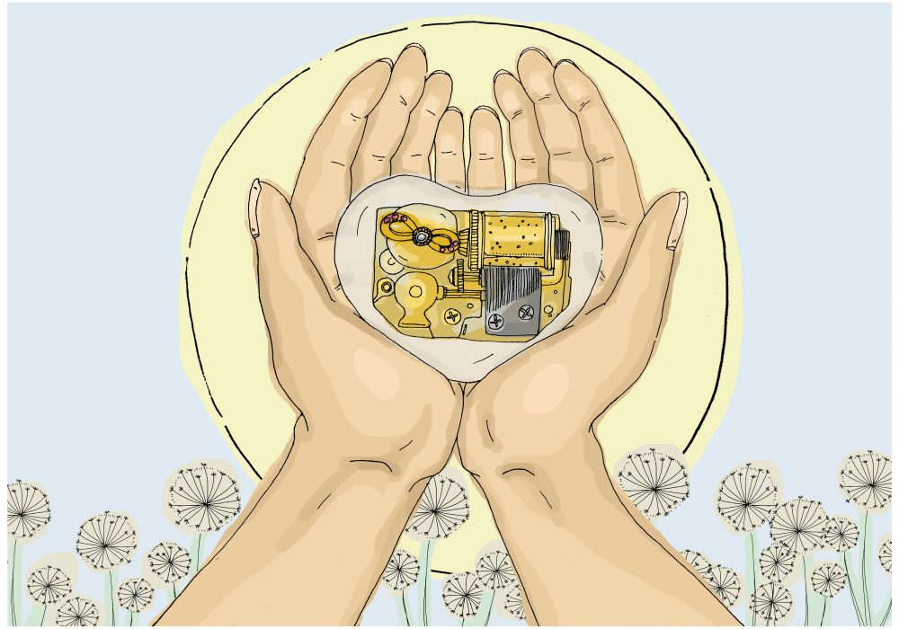 Illustrated hands cupping a heart shaped music box