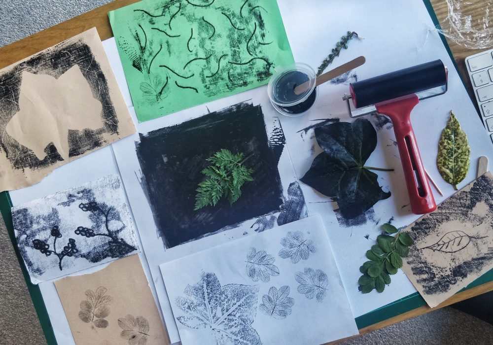 A selection of prints that have been created using leaves.