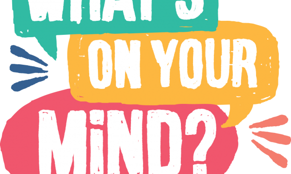 What's On Your Mind logo - text in different coloured boxes, designed to look like speech bubbles