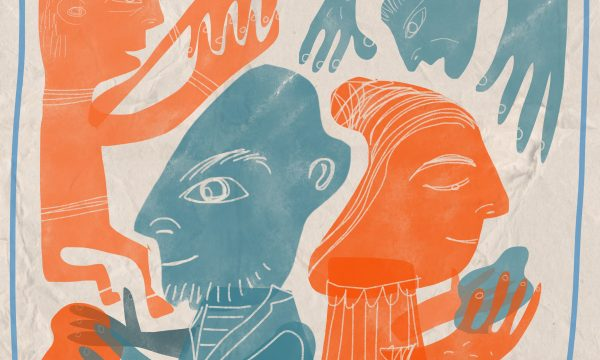 A painting in orange and blue of four people participating in Staying Out creative arts activity